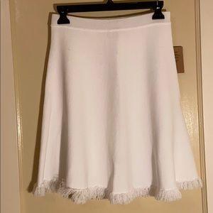 White Knit Fringe Skirt